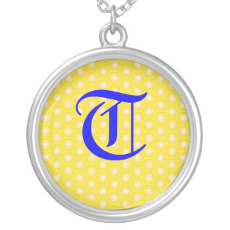 T LETTER ON HONEYCOMB CUSTOM NECKLACE