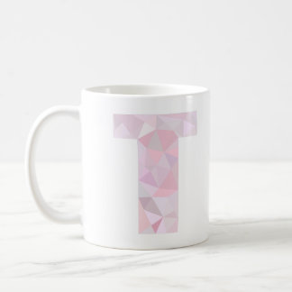 T - Low Poly Triangles - Neutral Pink Purple Gray Basic White Mug