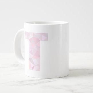 T - Low Poly Triangles - Neutral Pink Purple Gray Jumbo Mug
