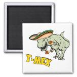 T-Mex T-Rex Mexican Tyrannosaurus Dinosaur Square Magnet