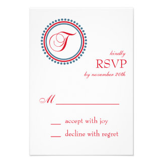 T Monogram Dot Circle RSVP Cards Red Blue