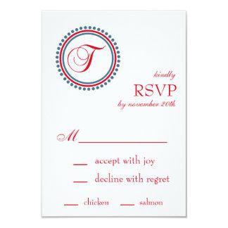 T Monogram Dot Circle RSVP Cards (Red / Blue) 9 Cm X 13 Cm Invitation Card