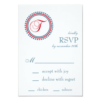 T Monogram Dot Circle RSVP Cards (Red / Blue) Custom Announcement