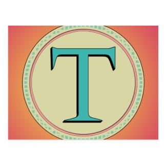 T MONOGRAM LETTER POST CARD