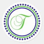 T Monogram (Navy Blue / Lime Green Dot Circle) Round Sticker