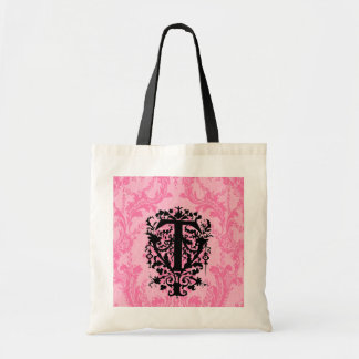 """T"" Ornate Baroque Monogram Tote Bag"