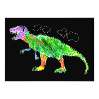 T-Rex 13 Cm X 18 Cm Invitation Card