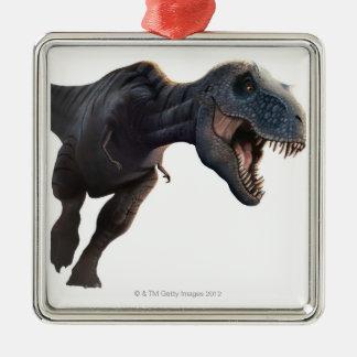 T Rex 2 Silver-Colored Square Decoration
