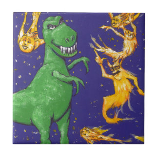 T-Rex and Comets Small Square Tile