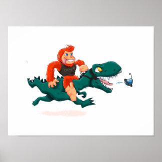 T rex bigfoot-cartoon t rex-cartoon bigfoot poster