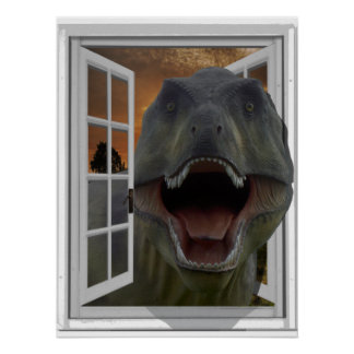 T-Rex Dinosaur 3D Picture Effect Fake Window Poster