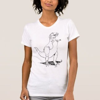 T Rex Dinosaur antique white destroyed womens tee