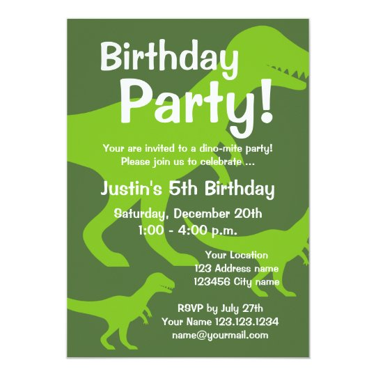 T Rex Dinosaur Birthday Party Invitations For Kids