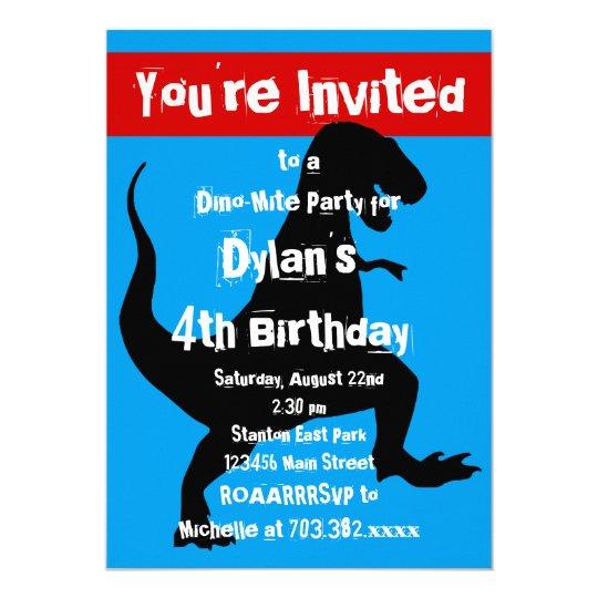 T Rex Dinosaur Blue Red Birthday Party Invitation