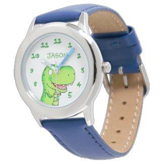 T-rex dinosaur cartoon kids name watch