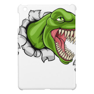 T Rex Dinosaur Clawing Hole in Background iPad Mini Covers