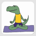 T-Rex Dinosaur Doing Yoga Square Sticker