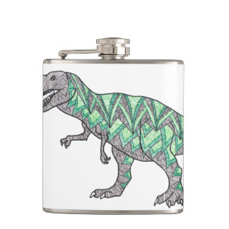 T-Rex Dinosaur Doodle Illustrated Art Hip Flask