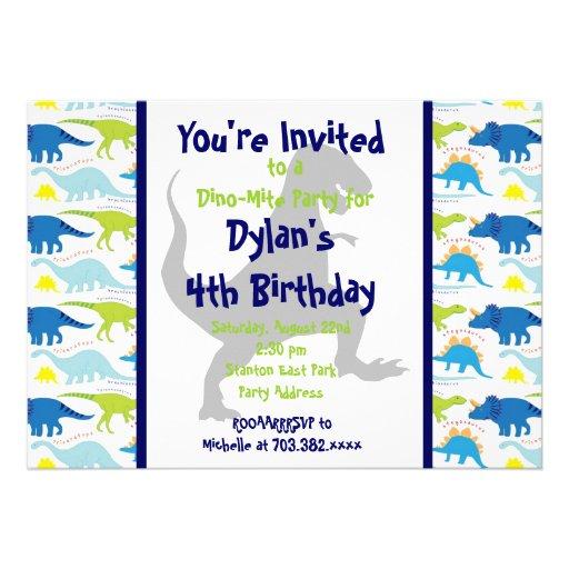 Rex Dinosaur Kids Birthday Party Invitations 5x7  Zazzle