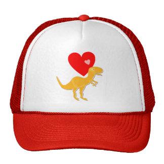 T-Rex Dinosaur Love Hearts Cap Mesh Hat
