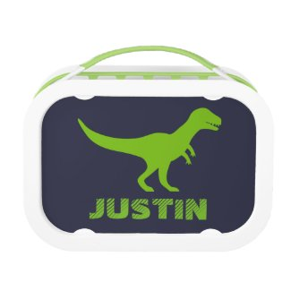 T Rex dinosaur lunch box personalised for boys