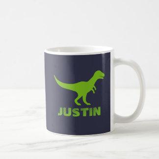 T Rex dinosaur mug personalized with kids name