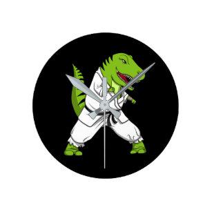 T-Rex Dinosaur Ninja Martial Arts Karate Round Clock