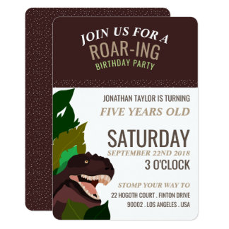 T Rex Dinosaur Party Children's Birthday Card