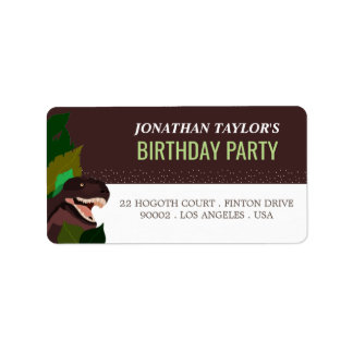 T Rex Dinosaur Party Children's Birthday Label