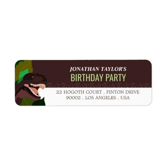 T Rex Dinosaur Party Children's Birthday Return Address Label