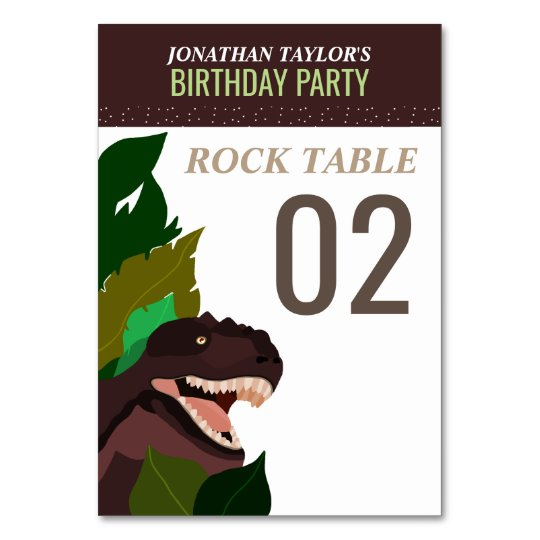 T Rex Dinosaur Party Children's Birthday Table No. Table Cards