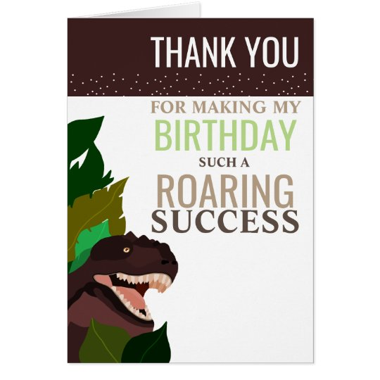 T Rex Dinosaur Party Children's Birthday Thank You Card
