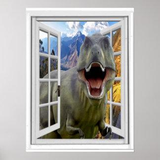 T-Rex Dinosaur Picture Fake Window Poster
