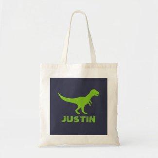 T Rex dinosaur tote bag personalised for kids