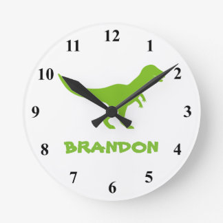 T Rex dinosaur wall clock with custom kids name