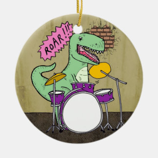 T Rex Drums Christmas Ornament