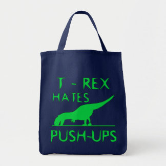 T REX HATES PUSHUPS Funny Dino Design Tote Bag