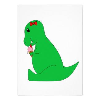 T-Rex Ice Cream Cone 13 Cm X 18 Cm Invitation Card
