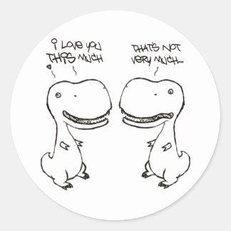 T-rex love round sticker