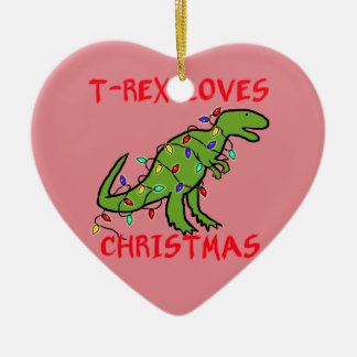 T-Rex Loves Christmas Christmas Ornament