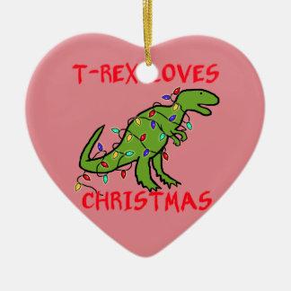 T-Rex Loves Christmas Christmas Ornament