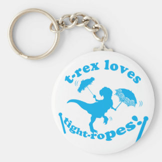 T-Rex Loves Tightropes! Basic Round Button Keychain