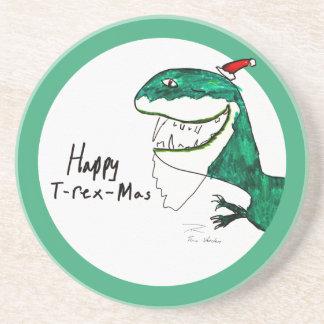 T-Rex-Mas Christmas Round Coaster