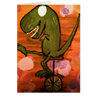 T-Rex rides a unicycle Card
