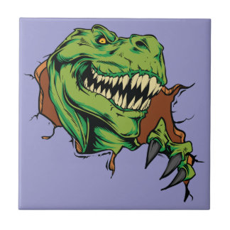 T Rex Rips Small Square Tile