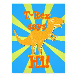 T-Rex says Hi Postcard