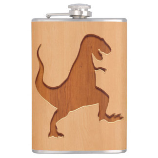T-rex silhouette engraved on wood design hip flask