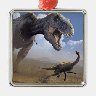 T Rex Silver-Colored Square Decoration