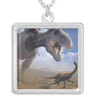 T Rex Silver Plated Necklace