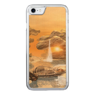 T-rex skeleton in a fantasy world with sunset carved iPhone 8/7 case
